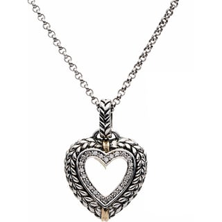 Elan Sterling Silver and 14k Yellow Gold 1/4ct TDW Diamond Heart Pendant (H-I, I1-I2)