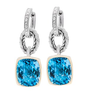 Elan Sterling Silver and 14k Yellow Gold 1/12ct TDW Diamond and Swiss Blue Topaz Earrings
