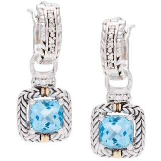 Elan Sterling Silver and 18k Yellow Gold Brilliant Diamond and Swiss Blue Topaz Earrings