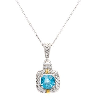 Silver and 14k Yellow Gold Brilliant Diamond and Swiss Blue Topaz Pendant