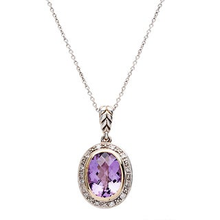 Elan Gold and Silver 1/8ct TDW Diamond and Amethyst Pendant