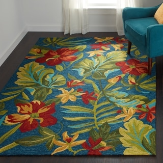"""Couristan Covington Tropical Orchid Azure- Forest Green- Red Indoor/Outdoor  Area Rug - 5'6"""" x 8'"""