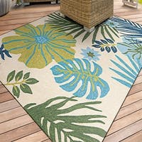 "Miami Tropics Ivory-Blue Indoor/Outdoor Area Rug - 5'6"" x 8'"