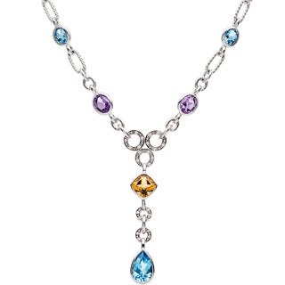 Elan Sterling Silver 1/8ct TDW Diamond Multi-gemstone Necklace