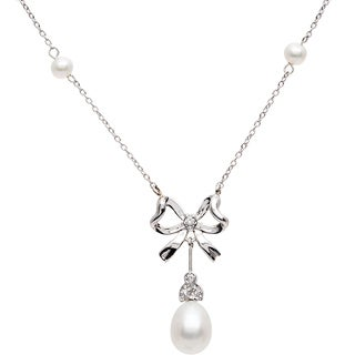 Elan Sterling Silver 1/20ct Diamond and Pearl Necklace