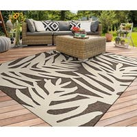 Couristan Covington Palms/Mocha Indoor/Outdoor Area Rug - 5'6 x 8'