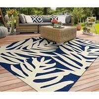 Couristan Covington Palms/Navy Indoor/Outdoor Area Rug - 5'6 x 8'