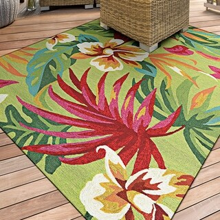 "Miami Fern Green-Red Indoor/Outdoor Area Rug - 5'6"" x 8'"