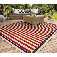 Couristan Covington Nautical Stripes Red/ Navy Indoor/Outdoor  Area Rug - 5'6 x 8'