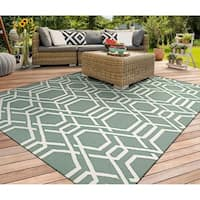 Couristan Covington Ariatta/Sea Mist Indoor/Outdoor Area Rug - 5'6 x 8'