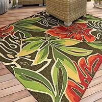 Miami Palms/ Brown-Deep Green Indoor/Outdoor Area Rug - 5'6 x 8'
