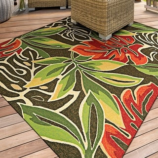 Miami Palms/ Brown-Deep Green Indoor/Outdoor Area Rug - 5'6 x 8'