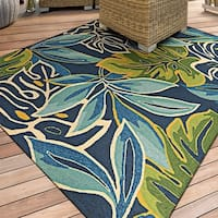 "Miami Palms Blue-Deep Green Indoor/Outdoor Area Rug - 5'6"" x 8'"