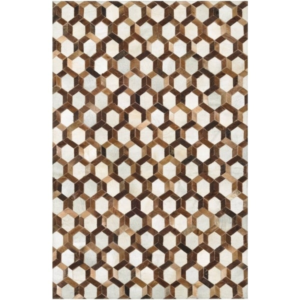 Couristan Chalet Spectrum Ivory Brown Cowhide Leather Area Rug