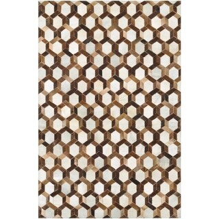 Couristan Chalet Spectrum/Ivory-Brown Cowhide Leather Area Rug - 5'4 x 8'