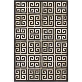 """Hand-Crafted Couristan Chalet Meander Black-Ivory Cowhide Leather Rug - 5'6"""" x 8'"""