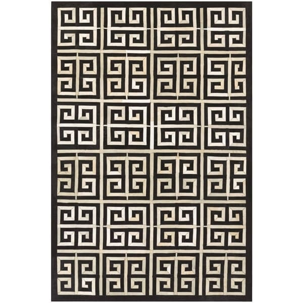 Couristan Chalet Meander Black Ivory Cowhide Leather Area Rug 5 X27