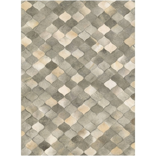 Couristan Chalet Diamonds Ivory Grey Cowhide Leather Area Rug 5 X27