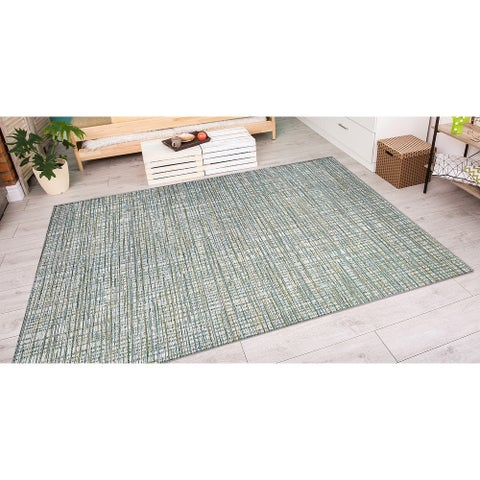 "Vector Lewes Ivory-Green Indoor/Outdoor Area Rug - 6'6"" x 9'6"""