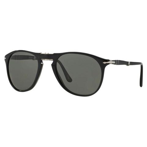 Persol Men's PO9714S Plastic Pilot Sunglasses - Black - Large