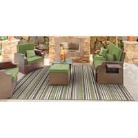 Vector Mendocino Green-Brown Indoor/Outdoor Area Rug - 5'3 x 7'6
