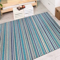 Couristan Cape Brockton/Cobalt-Teal Indoor/Outdoor Area Rug - 5'3 x 7'6