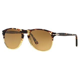 Persol Men's PO9649S Plastic Pilot Polarized Sunglasses