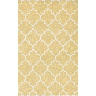 """Couristan Bowery Chauncey/Gold-Ivory Wool Area Rug - 5'2"""" x 7'4"""""""