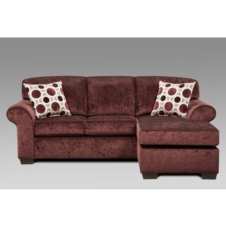 Fabric Sectional Sofa with 2 Pillows, Prism Elderberry