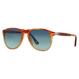 Persol Men's PO9649S Plastic Pilot Polarized Sunglasses
