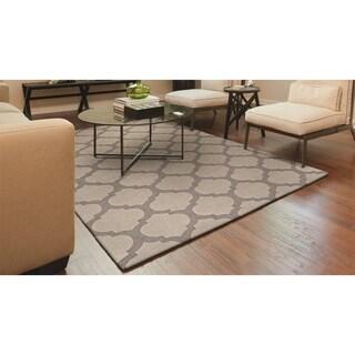 Couristan Super Indo-Natural Gypsum/Grey Wool Area Rug - 3'6 x 5'6