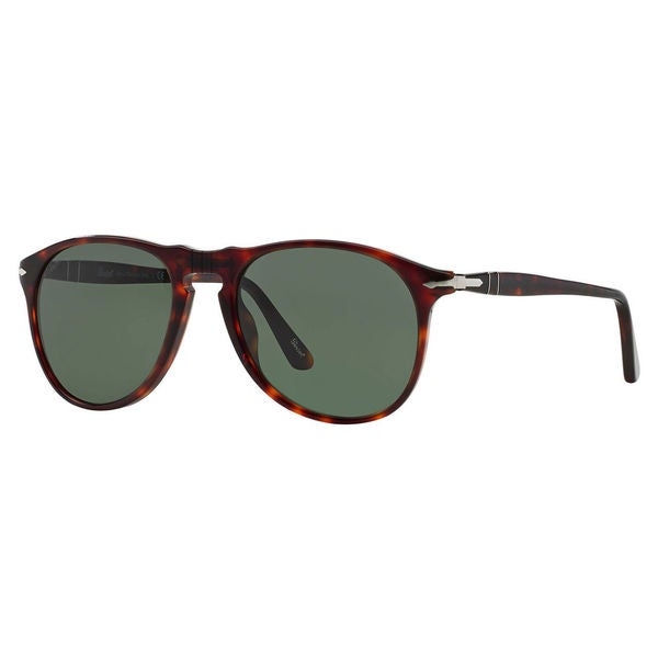Persol Men's PO9649S Plastic Pilot Sunglasses - Tortoise - Large