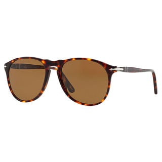 Persol Men's PO9649S24/57 Tortoise Brown Plastic Pilot Polarized Sunglasses