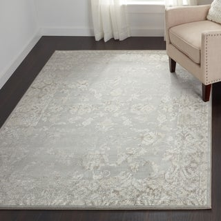 Couristan Provincia Botanic Appliqu Grey/ Cream Area Rug (3'11 x 5'3)