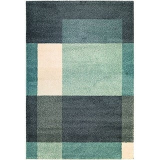 Couristan Moonwalk Fortress Charcoal/ Teal/ Ivory Area Rug (3'11 x 5'7)