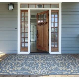 """Samantha Scroll Blue Indoor/Outdoor Area Rug - 3'9"""" x 5'5"""""""