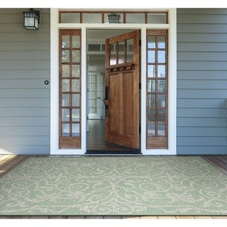 "Samantha Scroll Green Indoor/Outdoor Area Rug - 3'9"" x 5'5"""