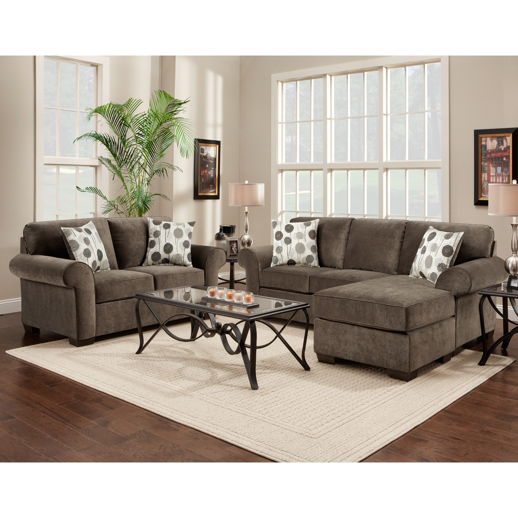 Fabric Sectional Sofa And Loveseat Set