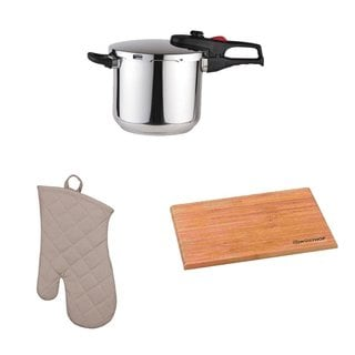 Magefesa Practika Plus 8-Quart Super Fast Pressure Cooker + Kitchen Oven Mitt + Wusthof Bamboo Cutting Board