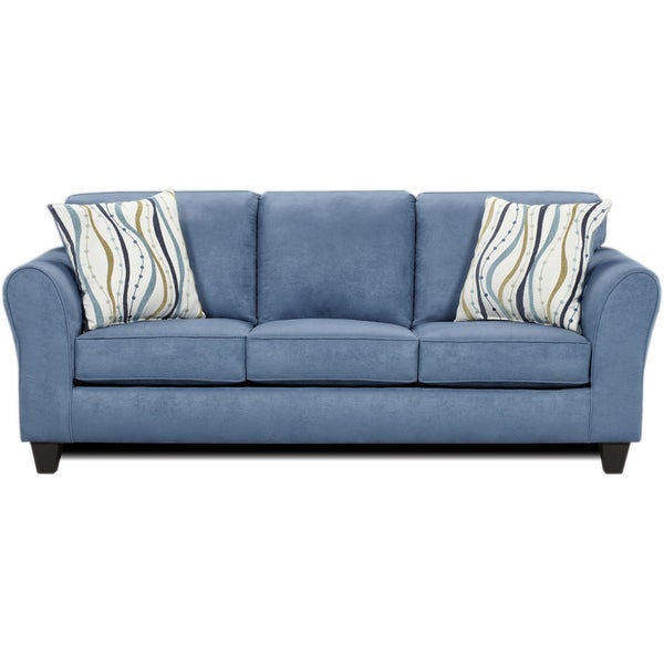 Microfiber Sofa with 2 Pillows, Patriot Blue - Free Shipping Today - Overstock.com - 17535295