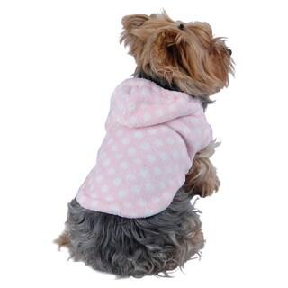 ANIMA Corral Fleece Pink and White Polka-dot Dog Hoodie