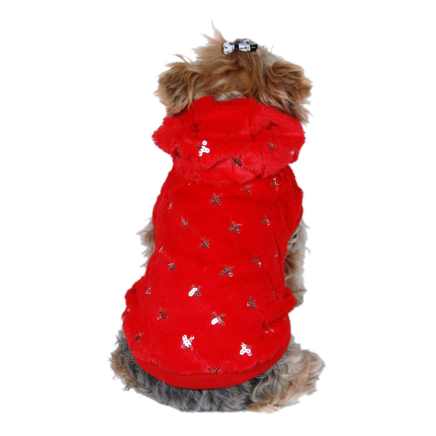 ANIMA Quilted Fleece and Sequined Diamond Pattern Dog Hoo...