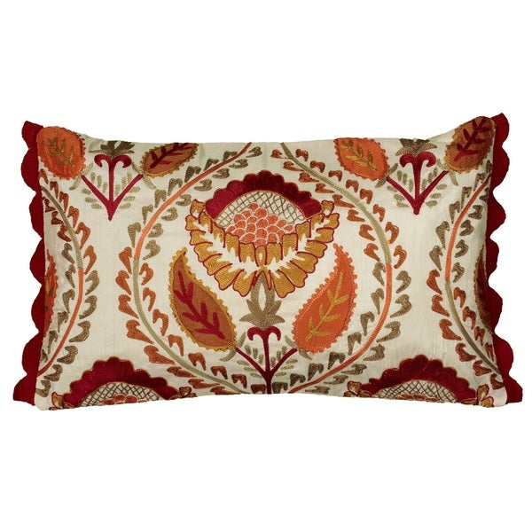 Rizzy Home Orange Botanical 12x20 Accent Pillow