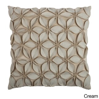 Rizzy Home Solid 18x18 Decorative Throw Pillow (Option: Cream)