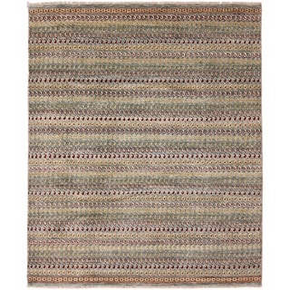 Hand-knotted Oushak Samia Green Rug (7'10 x 9'9)