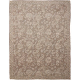 Hand-knotted Peshawar Lamia Brown Rug (9'1 x 12')