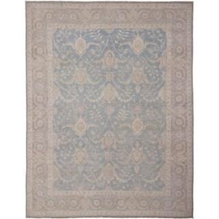 Hand-knotted Peshawar Faiza Blue Rug (9'1 x 12'4)