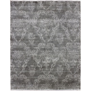 Hand-knotted Amina Green Rug (7'8 x 9'5)