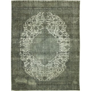 Hand-knotted Distressed Overdyed Sami Grey Rug (9'7 x 12'5)
