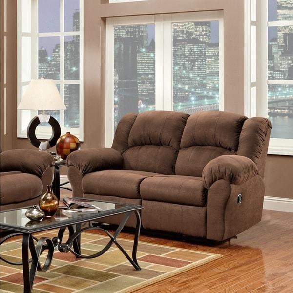 Aruba Chocolate Microfiber Dual Reclining Sofa and Loveseat Set